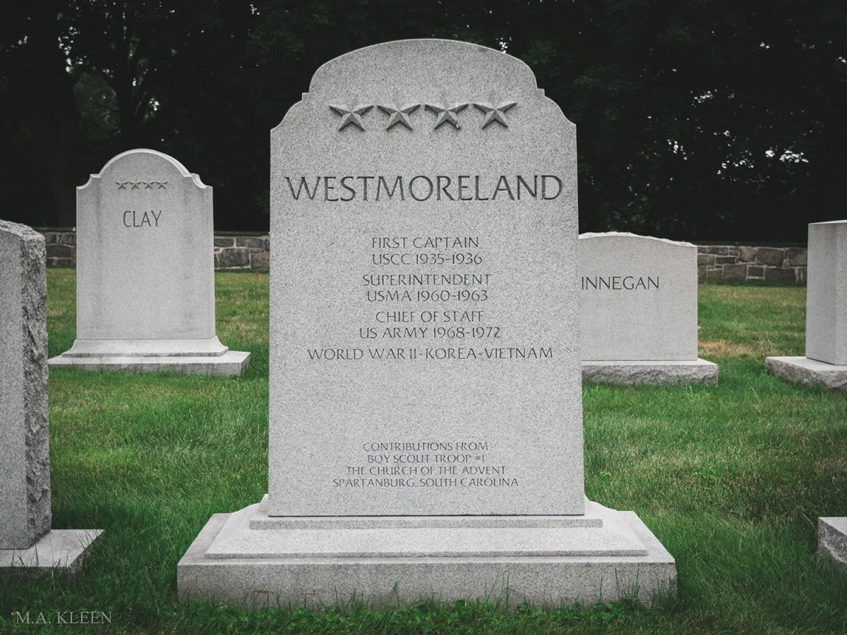 Monument to General William Childs Westmoreland (March 26, 1914 – July 18, 2005) in West Point Cemetery, 329 Washington Road, United States Military Academy at West Point, New York.