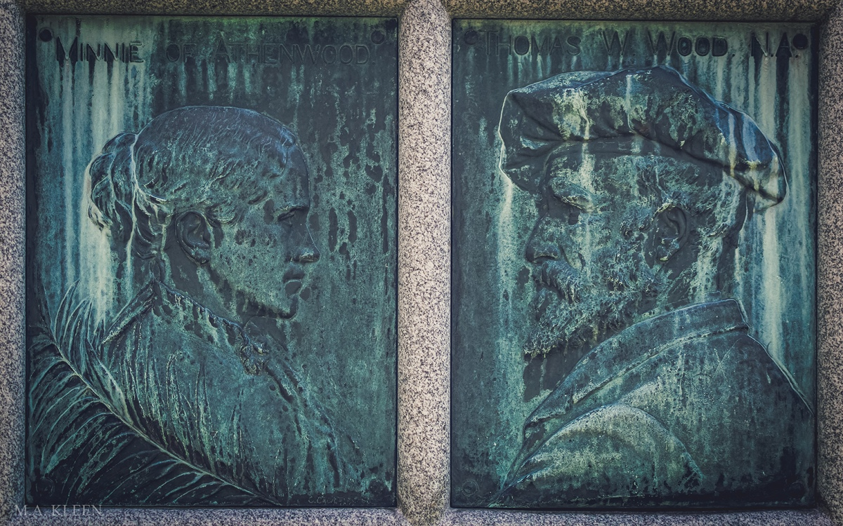 Relief image of Thomas Waterman Wood in Green Mount Cemetery at 250 State Street (U.S. Route 2) in Montpelier, Washington County, Vermont